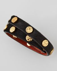 Tory Burch Black Logo-studded Calf Hair Wrap Bracelet