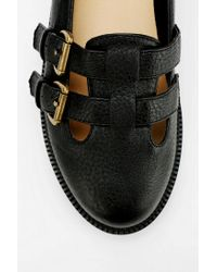 Urban Outfitters Black Cooperative Triple-buckle Ankle-strap Flat