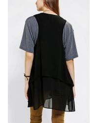 Urban Outfitters | Black Ecote Doublelayer Embroidered Vest | Lyst