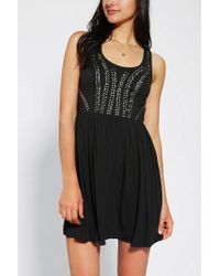 Urban Outfitters - Black Ecote Lola Studded Racer Back Dress - Lyst