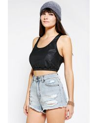Urban Outfitters - Black Out From Under Vegan Leather Sports Bra Top - Lyst