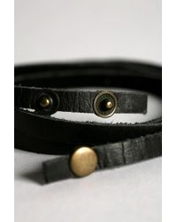 Urban Outfitters | Black Uo Leather Wrap Bracelet for Men | Lyst