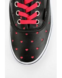 Urban Outfitters - Black Vans Authentic Heart Cutout Leather Sneaker - Lyst