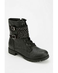Urban Outfitters Black Wanted Belgrade Studded Laceup Boot