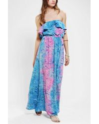 Urban Outfitters | Pink Band Of Gypsies Strapless Ruffletop Maxi Dress | Lyst