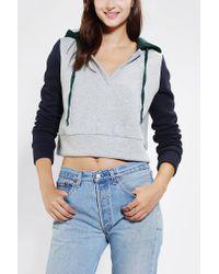 Urban Outfitters - Blue Bdg Colorblock Cropped Hoodie Sweatshirt - Lyst