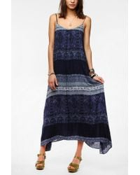 Urban Outfitters Blue Ecote Printed Tieback Maxi Dress