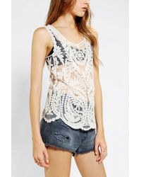 Urban Outfitters - Natural Pins and Needles Embroidered Tank Top - Lyst