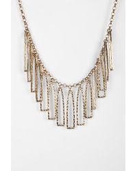 Urban Outfitters | Metallic Hammered Geo Fringe Necklace | Lyst