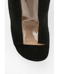 Urban Outfitters Black Roni Clear Wedge Peeptoe Ankle Boot