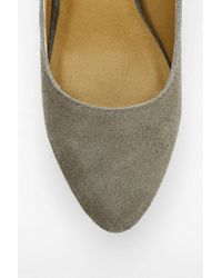 Urban Outfitters Gray Kimchi Blue Suede Pointy Kitten Heel