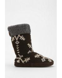 Urban Outfitters Gray Muk Luks Vanessa Snowflake Slipper sock Boot