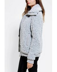 Urban Outfitters - Gray Pins and Needles Teddy Bomber Jacket - Lyst