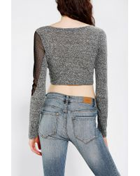 Urban Outfitters | Gray Tela Mesh Mix Cropped Top | Lyst