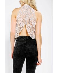 f8d38bbb4f1af Lyst - Urban Outfitters Pins and Needles Lace Openback Top in White