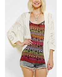 Urban Outfitters - Natural Staring At Stars Teardrop Pointelle Cardigan - Lyst