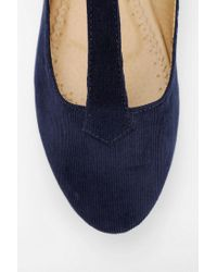 Urban Outfitters Blue Cooperative Corduroy T-strap Flat