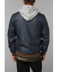 Urban Outfitters - Blue Obey Vegan Leather Varsity Jacket for Men - Lyst