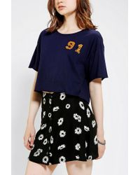 Urban Outfitters Blue Mid City Brawlers Cropped Top