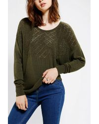 Urban Outfitters - Green Textured Yoke Dolman Sweater - Lyst