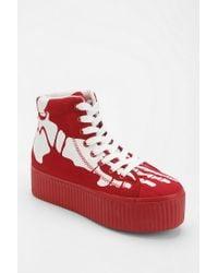 Urban Outfitters Red Jeffrey Campbell Hiya Skeleton Flatform sneaker
