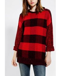 Urban Outfitters Red Bdg Buffalo Plaid Tunic Sweater