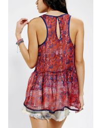 Urban Outfitters - Red Ecote Chiffon Babydoll Tank Top - Lyst