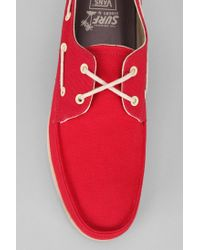 Urban Outfitters Red Vans Foghorn Mens Boat Shoe for men