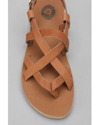 Urban Outfitters - Brown Leather Strappy Sandal - Lyst