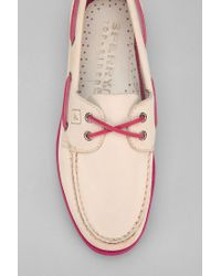 Urban Outfitters White Sperry Topsider Authentic Original Neon Sole Boat Shoe