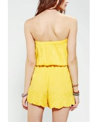 Urban Outfitters | Yellow Angie Embroidered Scallop Hem Romper | Lyst