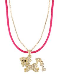 Betsey Johnson | Pink Crystal encrusted Dog Pendant Necklace | Lyst