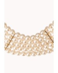Forever 21 White Iconic Faux Pearl Choker