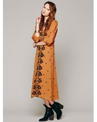 Free People Brown Embroidered Fable Dress