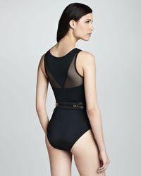 OYE Swimwear Miranda Highneck Mesh Onepiece Swimsuit Black