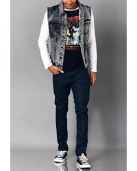 Forever 21 - Black Distressed Paint-flecked Denim Vest for Men - Lyst