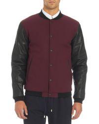 Basco - Purple Leather Sleeves Varsity Jacket for Men - Lyst