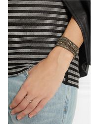 Chan Luu Green Labradorite Pyrite and Swarovski Crystal Five Wrap Bracelet