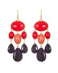 David Aubrey | Red Purple Statement Earrings | Lyst
