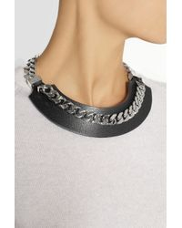 Fendi - Black Leather and Silvertone Necklace - Lyst