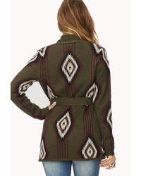 Forever 21 - Green Belted Southwestern Pattern Cardigan - Lyst
