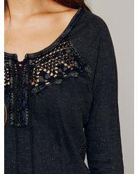 Free People Black Todela Crochet Henley