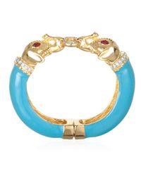 Kenneth Jay Lane | Blue Turquoise Enamel Elephant Bracelet | Lyst