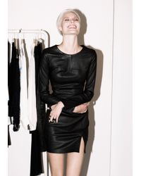 & Other Stories Black Open Back Leather Dress