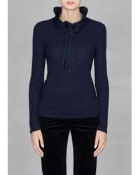 & Other Stories Blue Ruffle Top