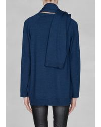 & Other Stories Blue Wool Scarf Cardigan