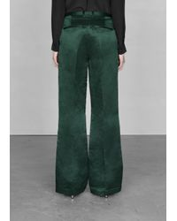 & Other Stories Green Linen and Silk Trousers