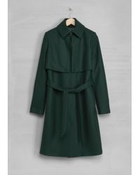 & Other Stories Green Wool Trench Coat