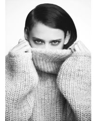 & Other Stories Gray Wool Sweater W Polo Neck