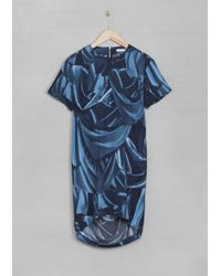 & Other Stories Blue Printed Draped Dress